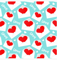 white envelope with valentine heart inside pattern vector image