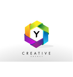 y letter logo corporate hexagon design vector image