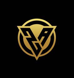 za logo monogram with triangle shape and circle vector image