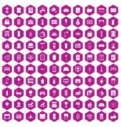 100 interior icons hexagon violet vector image