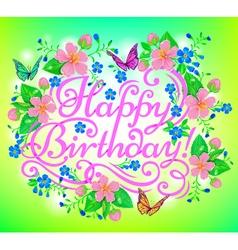 Birthday flowers greeting vector
