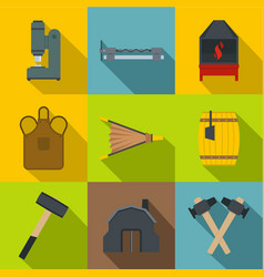 blacksmith tools icons set flat style vector image