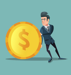 businessman with money man pushes big golden coin vector image