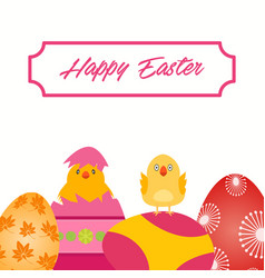 easter cute chicks with decorative eggs over white vector image