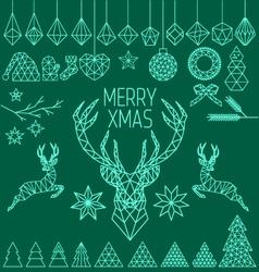 Geometric low poly Christmas set vector image vector image