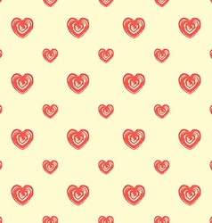Seamless pattern from hearts Grunge hand drawn vector image