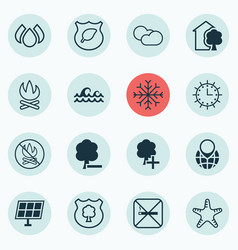 set of 16 eco-friendly icons includes bonfire vector image vector image