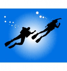 silhouettes of two divers vector image vector image