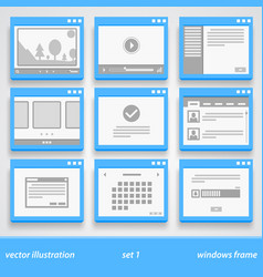 flat windows frame set 1 vector image vector image