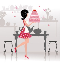 Girl Birthday Cake Card vector image