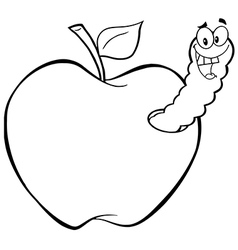 Royalty Free RF Clipart Happy Worm In Red Apple vector image