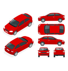 set of sedan cars isolated car template for car vector image vector image
