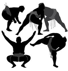 Sumo Wrestling Silhouette vector image vector image