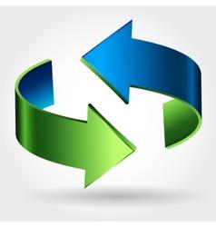 Arrows Sign Blue Green Color vector image vector image