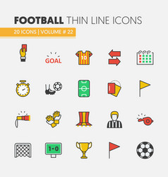 football soccer linear thin line icons set vector image vector image