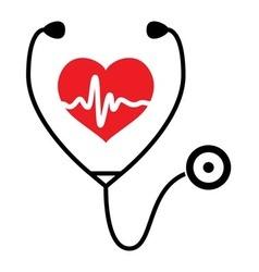 heart heartbeat stethoscope vector image vector image