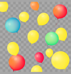 set of party balloons on transparent background vector image vector image