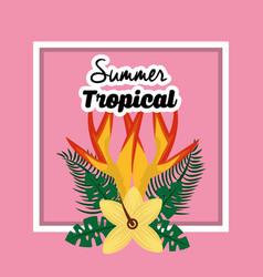 summer tropical flower exotic floral petals poster vector image