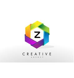 z letter logo corporate hexagon design vector image vector image