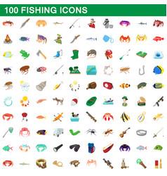 100 fishing icons set cartoon style vector image vector image