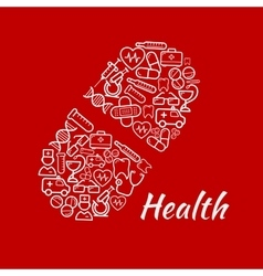 Bright symbol of capsule with healthcare icons vector image