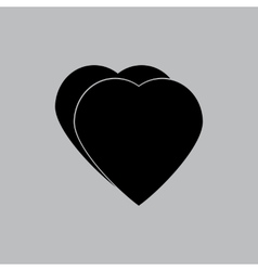 Hearts icon in a flat design in black color vector image