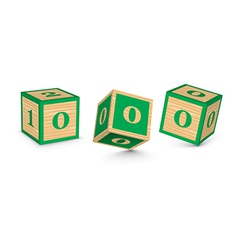 Number 0 wooden alphabet blocks vector