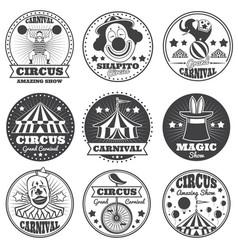 Vintage magic circus labels holiday show carnival vector