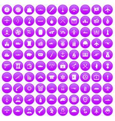 100 combat vehicles icons set purple vector