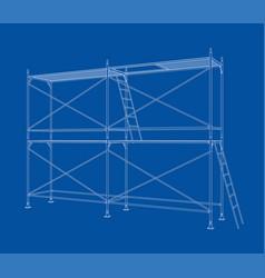 3d outline scaffold rendering of 3d vector