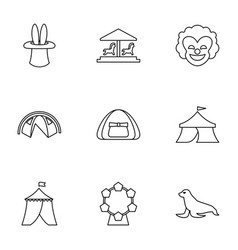 9 circus icons vector image