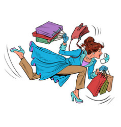 a woman runs to a sale discounts in store vector image
