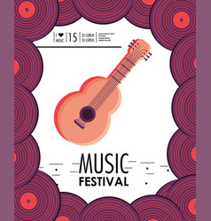 acoustic guitar instrument to music festival vector image