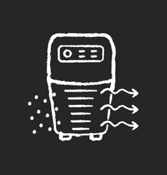 Air purifier chalk white icon on black background vector