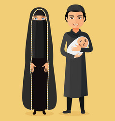Arab parents with a newborn baby happy vector