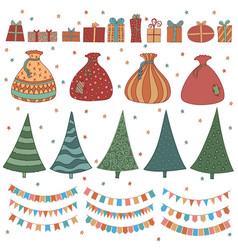 Awesome big set of cartoon about christmas and vector