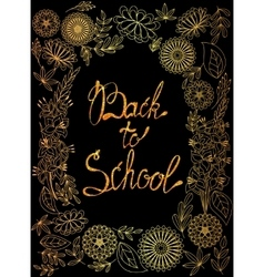 Back to school background golden with tinsels vector