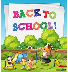 Back to school theme with children in playground vector