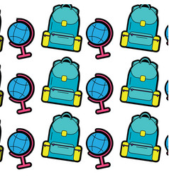 backpack with earth map school supplies icon image vector image