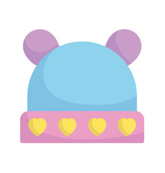 bashower cute hat with hearts accessory vector image