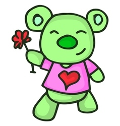 Bear and flower character valentine vector