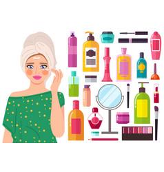 beautiful girl applying moisturizer cream on her vector image