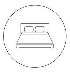 Bed icon black color in circle or round vector