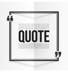 Black quote frame with placeholder text at white vector