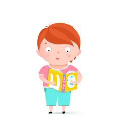 boy reading book clip art vector image