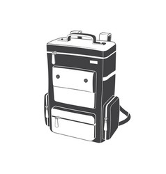 camping backpack silhouette on white background vector image