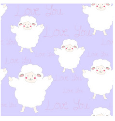 Carton seamless cute sheep lamb vector
