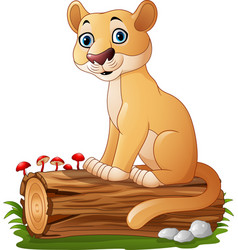 cartoon feline sitting on tree log vector image