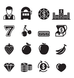 Casino slot machine gambling icons set vector