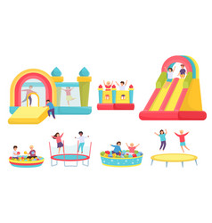 children jumping on trampolines cartoon boys vector image